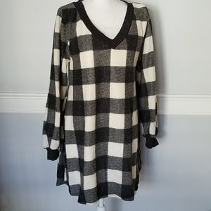 Over-Sized Tunic Dress Buffalo Check with pockets